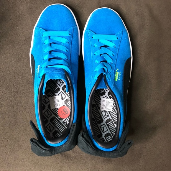 New Blue Suede Puma Bow Block Sneakers